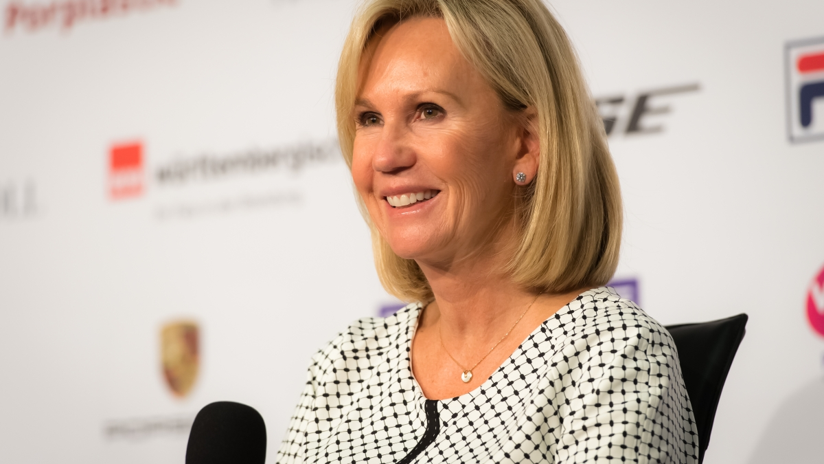Micky Lawler during the final press conference at the 2019 Porsche Tennis Grand Prix WTA Premier tennis tournament